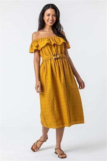 Ochre Broderie Belted Bardot Dress