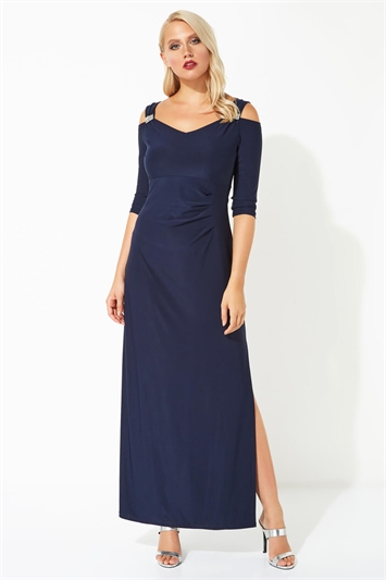 Cold Shoulder Diamante Maxi Dress