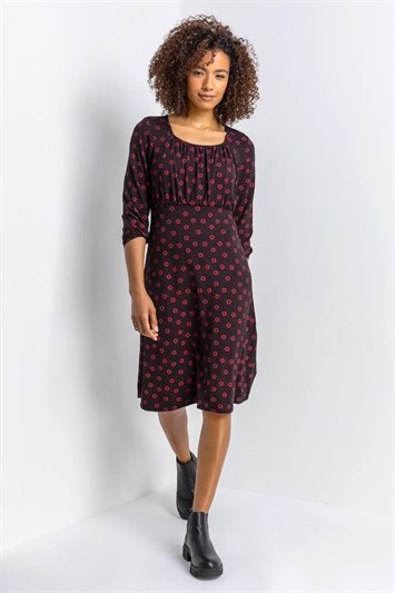 Red Square Neck Floral Spot Print Dress, Image 1 of 5