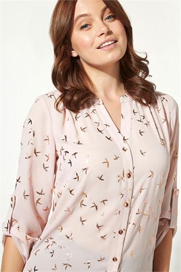 Foil Bird Print Button Through Shirt