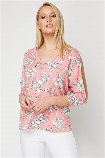 Floral Cold Shoulder Split Sleeve Top