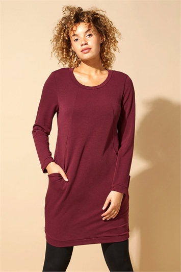 Front Pocket Long Sleeve Cocoon Dress