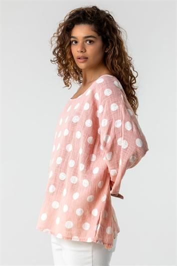 Light Pink Spot Print 3/4 Sleeve Top