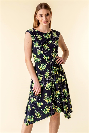 Hanky Hem Spot Floral Dress
