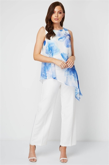 Floral Chiffon Overlay Jumpsuit