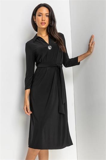 Black Plain Button Detail Midi Dress