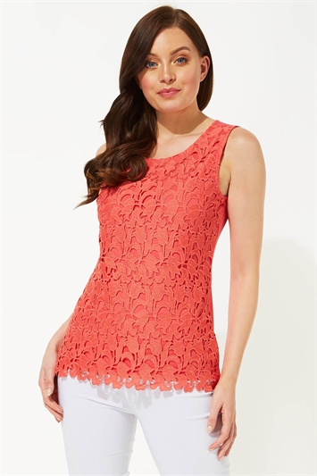 Floral Lace Front Sleeveless Top