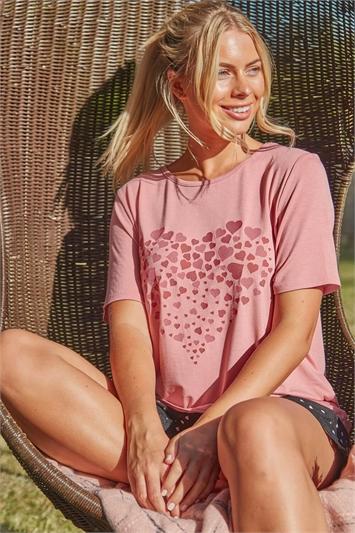 Mixed Heart Print Short Sleeve Lounge T-Shirt