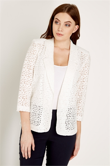 Ivory 3/4 Sleeve Lace Jacket, Image 1 of 5