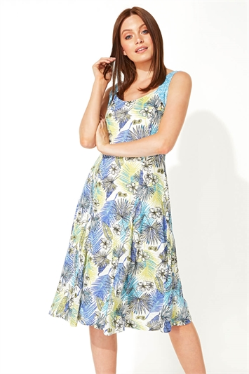 Tropical Print Burnout Fit and Flare Dress