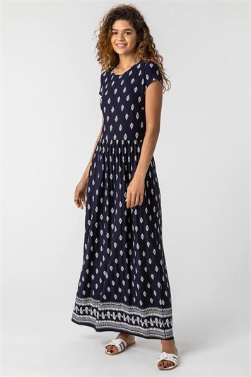 Paisley Border Print Maxi Dress