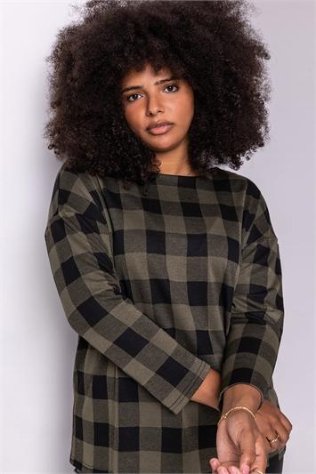 Khaki Curve Check Print Long Sleeve Top