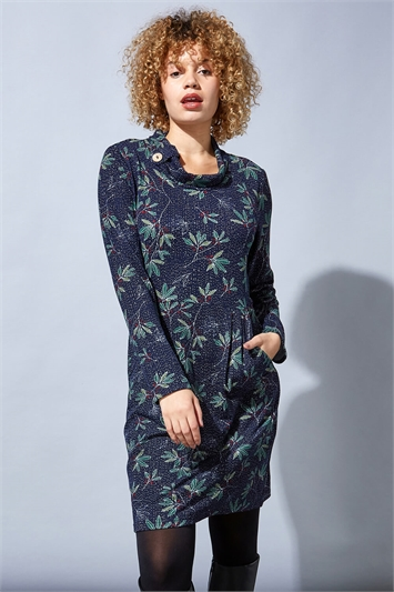 Navy Berry Leaf Print Cowl Neck Dress