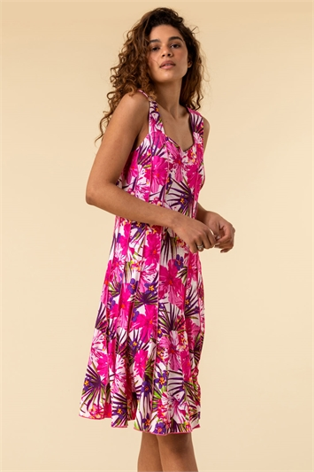 Pink Tropical Floral Panel Dress, Image 1 of 5