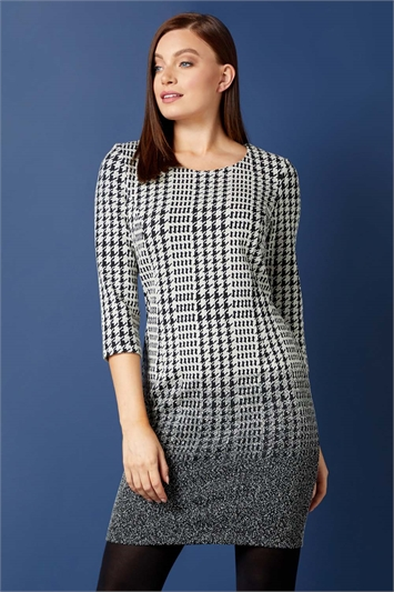 Dogtooth Check Ombre Textured Shift Dress