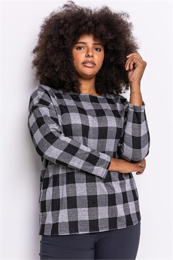 Grey Curve Check Print Long Sleeve Top
