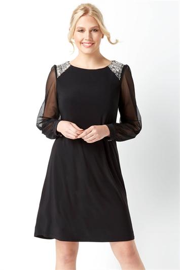 Embellished Shoulder Shift Dress