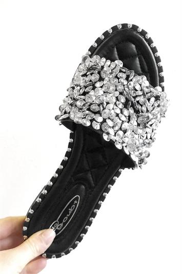 Embellished Flat Slider Sandals