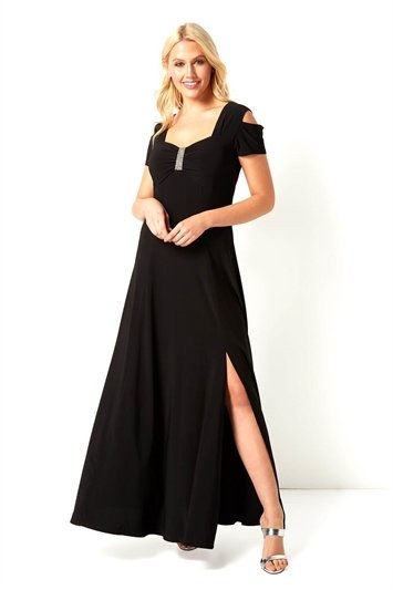 Diamante Cold Shoulder Maxi Dress