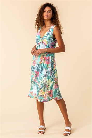 Burnout Tropical Print Knotted Dress