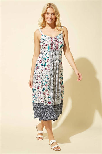 Geo Floral Print Strappy Sun Dress