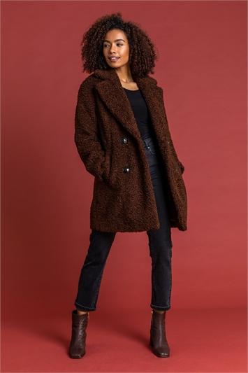 Chocolate Faux Fur Longline Teddy Coat