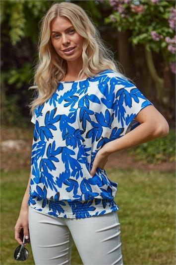 Shirred Hem Tropical Floral Print T-Shirt