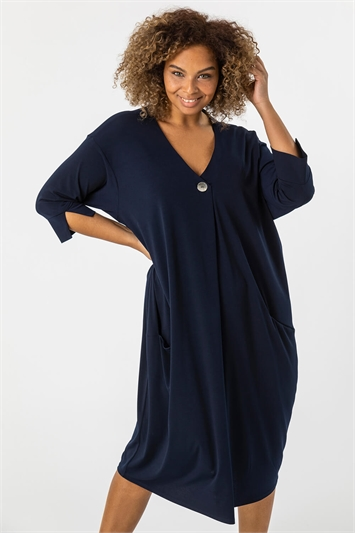 Curve Button Detail Cocoon Dress