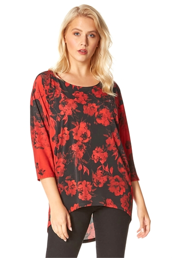 Contrast Floral Print Tunic Top