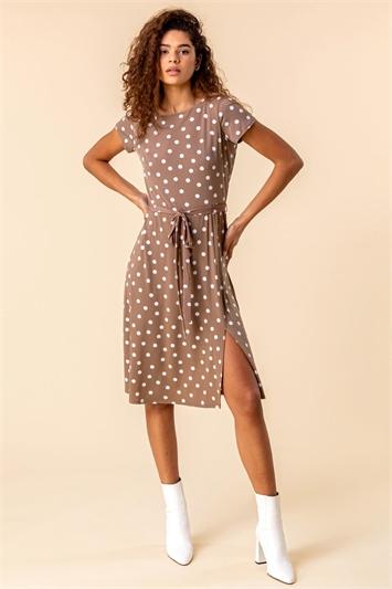 Tie Waist Spot Print Dress