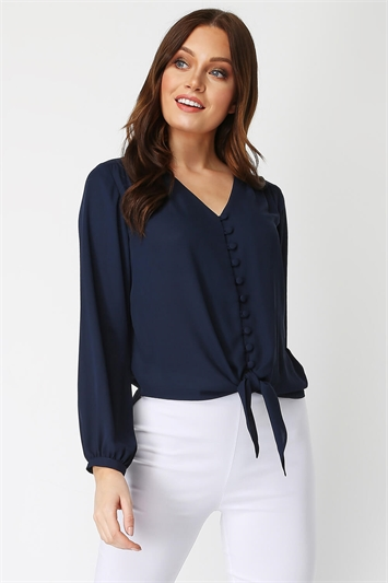 Button Tie Front Blouse