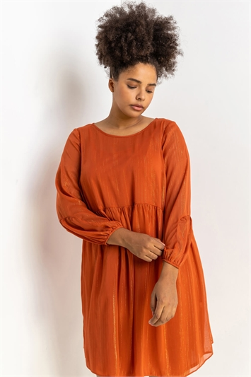 Rust Curve Chiffon Lurex Stripe Smock Dress