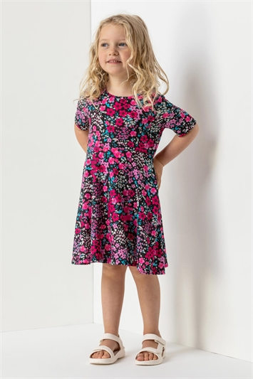 Fuchsia Girls Floral Print Skater Dress