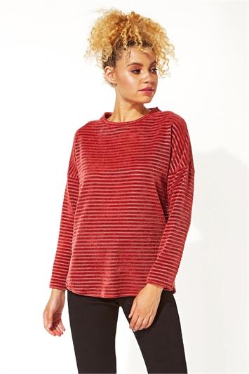 Chenille Stripe Long Sleeve Top