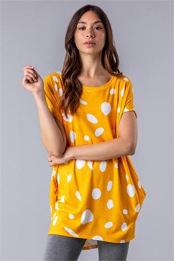Spot Print Cocoon Tunic Top