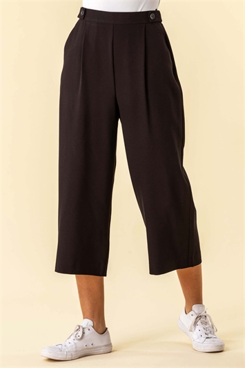 Button Detail Culotte Trousers