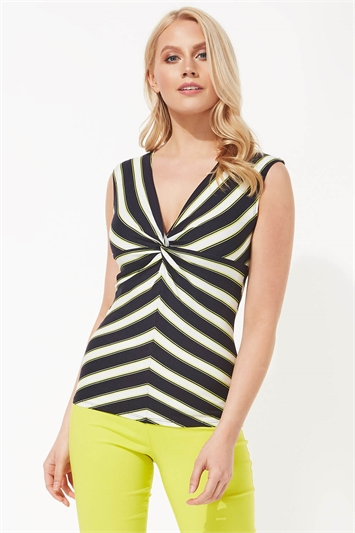 Knot Front Stripe Print Top