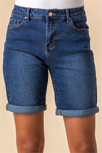 Denim Turned Hem Denim Shorts, Image 1 of 4