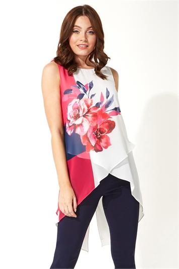 Fuchsia Floral Print Asymmetric Vest Top