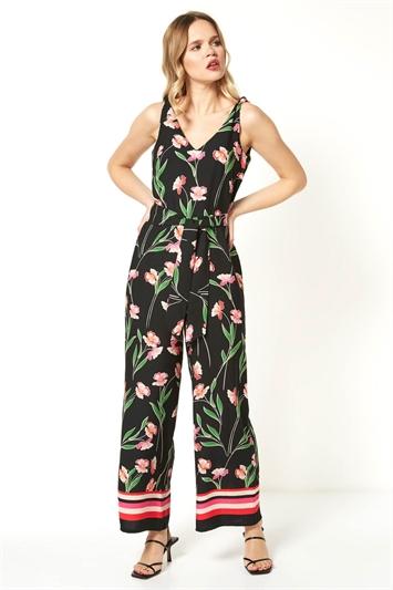 Floral Border Print Jumpsuit