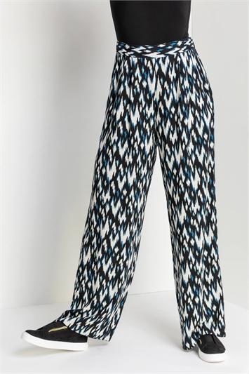 Blue Aztec Print Wide Leg Trousers, Image 1 of 5