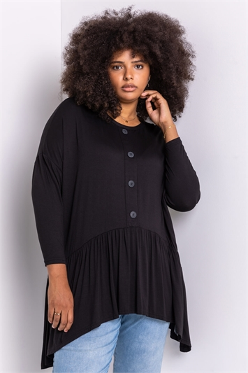 Black Curve Gathered Button Detailed Top