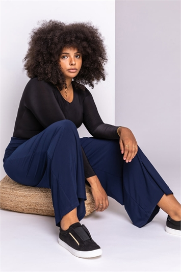 Navy Curve Wide Leg Trousers, Image 1 of 2
