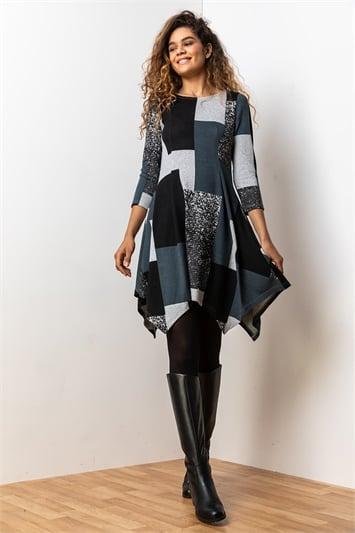 Grey Patchwork Print Hanky Hem Dress