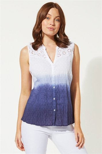 Blue Ombre Print Crinkle Blouse