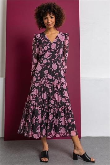 Pink Floral Spot Print Tiered Midi Dress