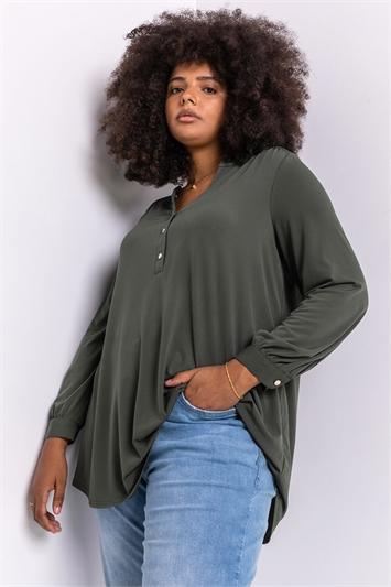 Khaki Curve Button Detail Long Sleeve Blouse