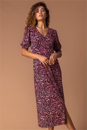 Rose Floral Print Puff Sleeve Midi Dress