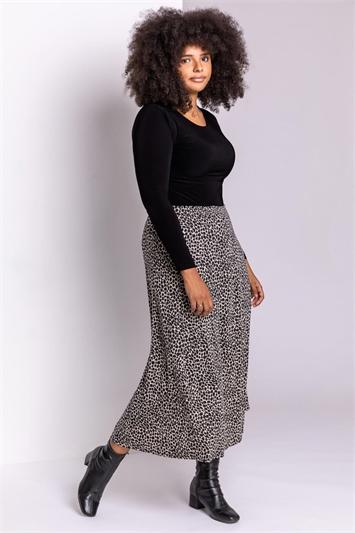 Beige Curve Animal Print Midi Skirt