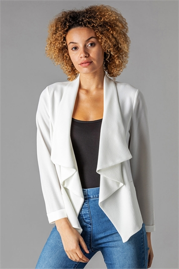Ivory Waterfall 3/4 Sleeve Jacket